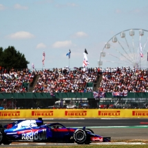 NORTHAMPTON, ENGLAND - JULY 08: Brendon Hartley of New Zealand driving the (28) Scuderia Toro Rosso STR13 Honda on track during the Formula One Grand Prix of Great Britain at Silverstone on July 8, 2018 in Northampton, England.  (Photo by Dan Istitene/Getty Images) // Getty Images / Red Bull Content Pool  // AP-1W7DQJPRS2111 // Usage for editorial use only // Please go to www.redbullcontentpool.com for further information. //
