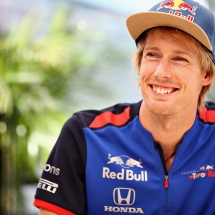 HOCKENHEIM, GERMANY - JULY 19:  Brendon Hartley of New Zealand and Scuderia Toro Rosso talks to the media during previews ahead of the Formula One Grand Prix of Germany at Hockenheimring on July 19, 2018 in Hockenheim, Germany.  (Photo by Mark Thompson/Getty Images) // Getty Images / Red Bull Content Pool  // AP-1WAXJXGDW1W11 // Usage for editorial use only // Please go to www.redbullcontentpool.com for further information. //
