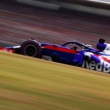 HOCKENHEIM, GERMANY - JULY 21: Brendon Hartley of New Zealand driving the (28) Scuderia Toro Rosso STR13 Honda on track during qualifying for the Formula One Grand Prix of Germany at Hockenheimring on July 21, 2018 in Hockenheim, Germany.  (Photo by Dan Istitene/Getty Images) // Getty Images / Red Bull Content Pool  // AP-1WBJ8TXT91W11 // Usage for editorial use only // Please go to www.redbullcontentpool.com for further information. //