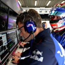 SPA, BELGIUM - AUGUST 24: Brendon Hartley of New Zealand and Scuderia Toro Rosso prepares to drive in the garage during practice for the Formula One Grand Prix of Belgium at Circuit de Spa-Francorchamps on August 24, 2018 in Spa, Belgium.  (Photo by Peter Fox/Getty Images) // Getty Images / Red Bull Content Pool  // AP-1WPEDM9H51W11 // Usage for editorial use only // Please go to www.redbullcontentpool.com for further information. //