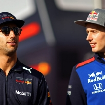 MONTMELO, SPAIN - MAY 11: Daniel Ricciardo of Australia and Red Bull Racing talks with Brendon Hartley of New Zealand and Scuderia Toro Rosso in the Paddock after practice for the Spanish Formula One Grand Prix at Circuit de Catalunya on May 11, 2018 in Montmelo, Spain.  (Photo by Dan Istitene/Getty Images) // Getty Images / Red Bull Content Pool  // AP-1VMRSCW2H1W11 // Usage for editorial use only // Please go to www.redbullcontentpool.com for further information. //