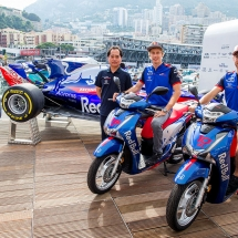 MONTE-CARLO, MONACO - MAY 23:  23:  Y 23: Toyuhara Tanabe of Honda and Scuderia Toro Rosso with Brendon Hartley of Scuderia Toro Rosso and New Zealand and Pierre Gasly of Scuderia Toro Rosso and France  during previews ahead of the Monaco Formula One Grand Prix at Circuit de Monaco on May 23, 2018 in Monte-Carlo, Monaco.  (Photo by Peter Fox/Getty Images) // Getty Images / Red Bull Content Pool  // AP-1VRKHG1ND2111 // Usage for editorial use only // Please go to www.redbullcontentpool.com for further information. //