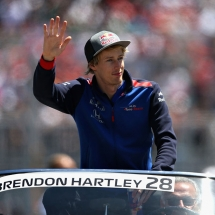 MONTREAL, QC - JUNE 10:  Brendon Hartley of New Zealand and Scuderia Toro Rosso on the drivers parade before the Canadian Formula One Grand Prix at Circuit Gilles Villeneuve on June 10, 2018 in Montreal, Canada.  (Photo by Charles Coates/Getty Images) // Getty Images / Red Bull Content Pool  // AP-1VXDA48292111 // Usage for editorial use only // Please go to www.redbullcontentpool.com for further information. //
