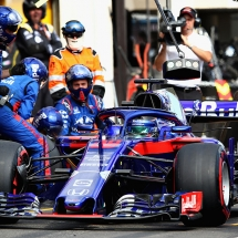 LE CASTELLET, FRANCE - JUNE 24:  Brendon Hartley of New Zealand driving the (28) Scuderia Toro Rosso STR13 Honda makes a pit stop for new tyres during the Formula One Grand Prix of France at Circuit Paul Ricard on June 24, 2018 in Le Castellet, France.  (Photo by Mark Thompson/Getty Images) // Getty Images / Red Bull Content Pool  // AP-1W2WPD8DW1W11 // Usage for editorial use only // Please go to www.redbullcontentpool.com for further information. //